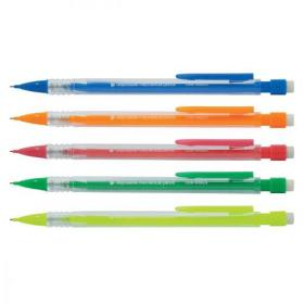 5 Star Office Mechanical Pencil Retractable Disposable with 0.7mm Lead Assorted Barrels Pack of 10