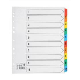5 Star Office Maxi Index 1-10 Multipunched Mylar-reinforced Multicolour-Tabs 150gsm Extra Wide A4+ White