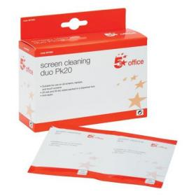 5 Star Office Screen Cleaning Duo Sachets of Wet and Dry Wipes [Pack 20x2]