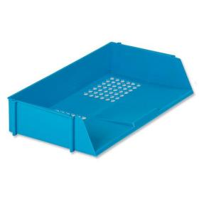 5 Star Office Letter Tray Wide Entry High-impact Polystyrene Stackable Blue
