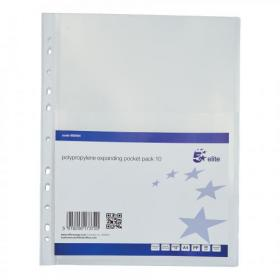 5 Star Elite Expanding Punched Pocket with Flap Polypropylene Top-opening 170 Micron A4 Clear Pack of 10