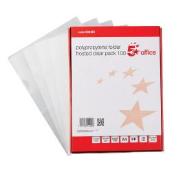Cheap Stationery Supply of 5 Star Office Folder Cut Flush Embossed Polypropylene Copy-safe 120 Micron A4 Clear Pack of 100 Office Statationery