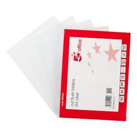 5 Star Office Folder Cut Flush Embossed Polypropylene Copy-safe 120 Micron A4 Clear Pack of 100