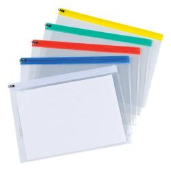 Cheap Stationery Supply of 5 Star Office Zip Filing Bags Clear Front with Coloured Seal A4 Assorted Pack of 30 Office Statationery