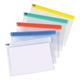 5 Star Office Zip Filing Bags Clear Front with Coloured Seal A5 Assorted Pack of 30
