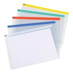 5 Star Office Zip Filing Bags Clear Front with Coloured Seal A3 Assorted Pack of 5