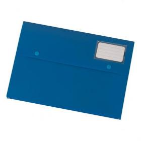 5 Star Office Document Wallet with Card Holder Polypropylene A4 Blue Pack of 3