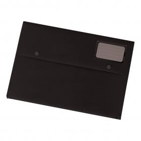 5 Star Office Document Wallet with Card Holder Polypropylene A4 Black Pack of 3