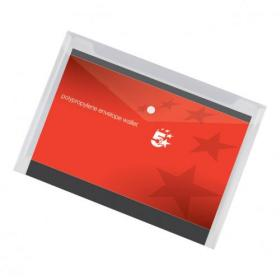 5 Star Office Envelope Stud Wallet Polypropylene A4 Transparent Clear Pack of 5