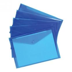 Cheap Stationery Supply of 5 Star Office Envelope Stud Wallet Polypropylene A4 Translucent Blue Pack of 5 Office Statationery