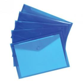5 Star Office Envelope Stud Wallet Polypropylene A4 Translucent Blue Pack of 5