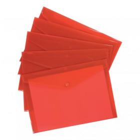 5 Star Office Envelope Stud Wallet Polypropylene A4 Translucent Red Pack of 5