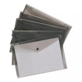 5 Star Office Envelope Stud Wallet Polypropylene A4 Translucent Smoke Pack of 5