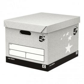 5 Star Facilities FSC Storage Box & Lid Self-Assembly W336xD391xH285mm Grey Pack of 10