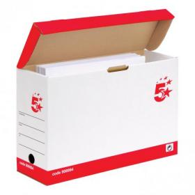 5 Star Office FSC Transfer Case Hinged Lid Foolscap Self-assembly W133xD401xH257mm Red & White Pack of 20