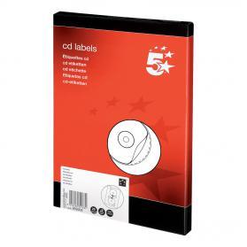 5 Star Office CD Labels Inkjet and Laser Printable 2 per Sheet 117mm Diameter White 50 Labels
