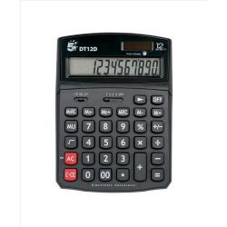 Cheap Stationery Supply of 5 Star Office Desktop Calculator 12 Digit 2x3 Key Memory Battery/Solar Power 91x11x125mm Black Office Statationery