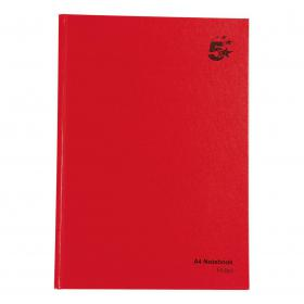 5 Star Office Manuscript Notebook Casebound 70gsm Ruled 192pp A4 Red Pack of 5