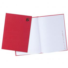5 Star Office Manuscript Notebook Casebound 70gsm Ruled and Indexed 192pp A4 Red Pack of 5