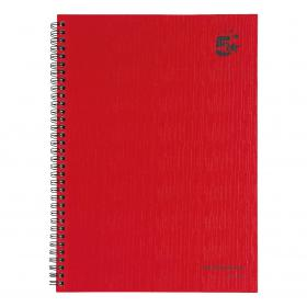 5 Star Office Manuscript Notebook Wirebound 70gsm Ruled 160pp A4 Red Pack of 5