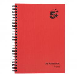 Cheap Stationery Supply of 5 Star Office Manuscript Notebook Wirebound 70gsm Ruled 160pp A5 Red Pack of 5 Office Statationery