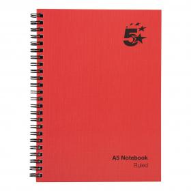 5 Star Office Manuscript Notebook Wirebound 70gsm Ruled 160pp A5 Red Pack of 5