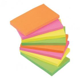 5 Star Office Re-Move Notes Repositionable Neon Pad of 100 Sheets 76x127mm Assorted Pack of 12