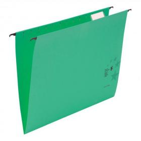 5 Star Office Suspension File with Tabs and Inserts Manilla 15mm V-base 230gsm Foolscap Green Pack of 50