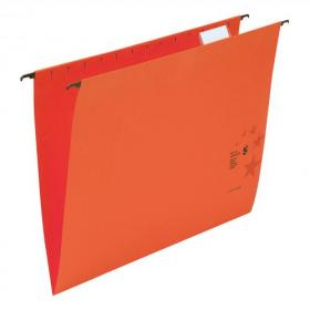 5 Star Office Suspension File with Tabs and Inserts Manilla 15mm V-base 230gsm Foolscap Red Pack of 50