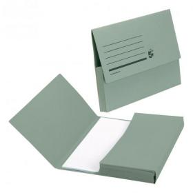 5 Star Office Document Wallet Half Flap 285gsm Recycled Capacity 32mm A4 Green Pack of 50