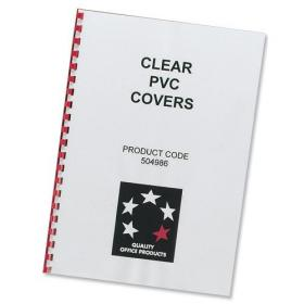 5 Star Office Comb Binding Covers PVC 200 micron A4 Clear Pack of 100