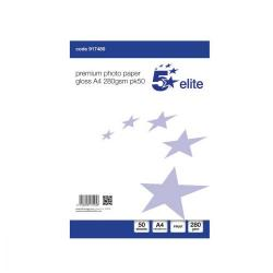 Cheap Stationery Supply of 5 Star Elite Photo Inkjet Paper Gloss 280gsm A4 White 50 Sheets Office Statationery