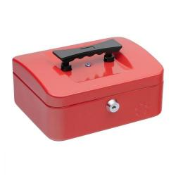 Cheap Stationery Supply of 5 Star Facilities Cash Box with 5-compartment Tray Steel Spring Lock 8 Inch W200xD160xH70mm Red Office Statationery