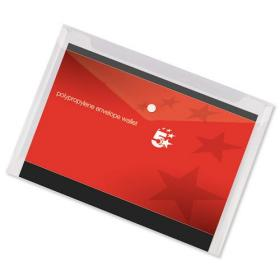 5 Star Office Envelope Stud Wallet Polypropylene A3 Transparent Clear Pack of 5