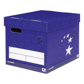 5 Star Elite FSC Superstrong Archive Storage Box & Lid Self-assembly W313xD415xH326mm Blue Pack of 10