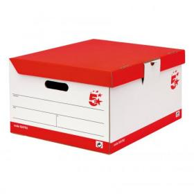 5 Star Office FSC Storage Trunk Hinged Lid Self-assembly W387xD448xH254mm Red & White Pack of 10