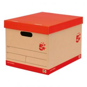 5 Star Office FSC Storage Box with Lid Self-assembly Kraft W321xD392xH291mm Red & Brown Pack of 10