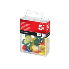 5 Star Office Indicator Pins 15mm Head Assorted Pack of 20