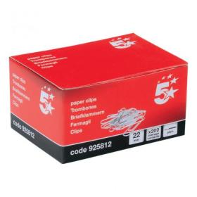 5 Star Office Paperclips Metal Small Length 22mm Plain Pack of 1000