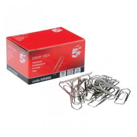 5 Star Office Paperclips No Tear Extra Large Length 33mm Pack of 10x100