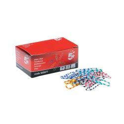 Cheap Stationery Supply of 5 Star Office Paperclips Length 28mm Zebra Assorted Colours Pack of 150 Office Statationery