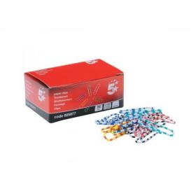 5 Star Office Paperclips Length 28mm Zebra Assorted Colours Pack of 150
