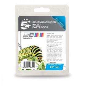 5 Star Office Remanufactured Inkjet Cart 260pp 7ml Tri-Colour HP No.343 CB332EE Alternative Pack of 2