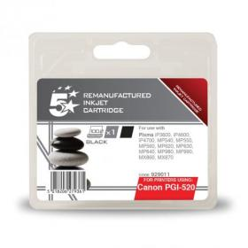 5 Star Office Remanufactured Inkjet Cartridge Page Life 350pp Black 19ml Canon PGI-520BK Alternative