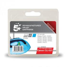 5 Star Office Remanufactured Inkjet Cartridge Page Life 448pp 9ml Cyan Canon CLI-521C Alternative