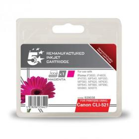 5 Star Office Remanufactured Inkjet Cartridge Page Life 450pp 9ml Magenta Canon CLI-521M Alternative