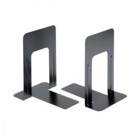 5 Star Office Bookends 180mm Metal Heavy Duty 7 Inch Black Pack of 2