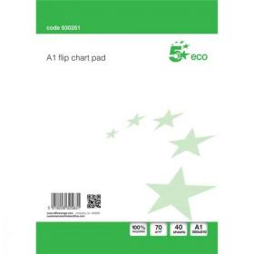 5 Star Eco Recycled Flipchart Pad Perforated 40 Sheets A1 White Pack of 5