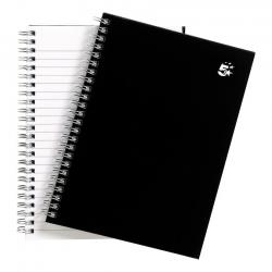 Cheap Stationery Supply of 5 Star Office Notebook Wirebound 80gsm Ruled 140pp A5 Black Pack of 5 Office Statationery