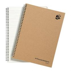 Cheap Stationery Supply of 5 Star Eco Notebook Wirebound 80gsm Ruled Recycled 160pp A4 Buff Pack of 5 Office Statationery